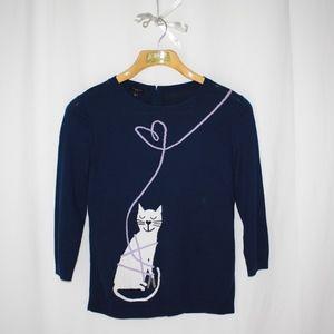 Talbots petite M sweater kitty cat sweater top